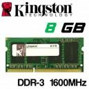 Memoria Portátil DDR-3 8GB PC-1600 Kingston