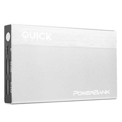 Power Bank Quickmedia Batería Móvil 10000mAh Plata